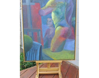 Mid Century Modern Painting Abstract Modernist Still Life Painting, 1960s Mid Century Modern Art Male Interest Mannequin