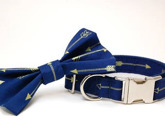 Handmade Dog Collar and Bow Tie Set - Arrows Abound in Navy - Custom Made Arrow Dog Collar with matching bowtie