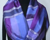 Purple Silk Scarf Hand Painted Handmade Silk Shawl PURPLE VISION, in Several SIZES. Silk Scarves Colorado. Mother Day Gift, Christmas Gift
