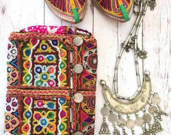 Vintage Handmade Banjara coin clutch shoulder purse,Ethnic Embroidered Fabric Tribal Bohemian hand embellished by Inali Model BP#5