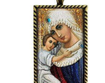 Madonna Jesus Christ Glass Tile Pendant Necklace Holy Mother Jewelry
