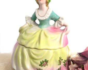 Vintage Lady Porcelain Powder Box Lidded Jewelry Vanity Trinket Jar,