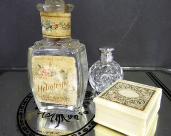 Heliotrope Perfume Bottle with Glass Fan Stopper, Antique Crofts & Reed, Original Labels