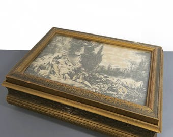 Wooden Jewelry Box, Vintage French Country Scene Print, Decorative Framed Wood, Trinket Cache Box