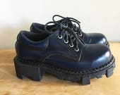Vintage 90s Chunky Blue Platform Boots, Platform Shoes, Ankle Boots, Booties, Creepers, Made in Spain, Size 6