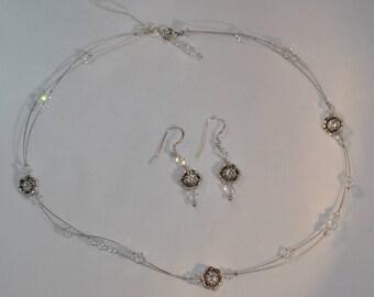 Swarovski illusion necklace & earrings