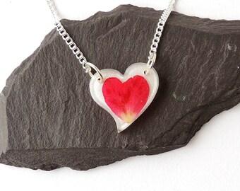Little Pink Rose Petal Heart Necklace, Heart Jewellery, Botanical Jewellery, Resin Jewellery, Rose Jewellery, Flower Jewellery, UK | 661b