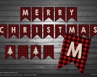 Diy christmas banner etsy merry christmas banner christmas buffalo plaid banner buffalo plaid and burlap holiday banner solutioingenieria Choice Image
