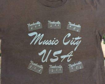 Vintage 80's Music City USA Nashville Country vacation tourist t shirt size M