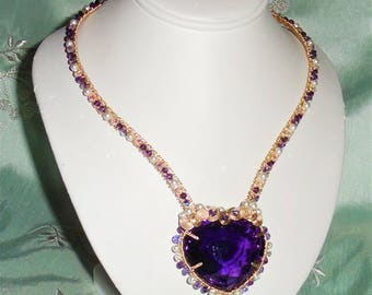 """Extremely RARE Natural 159 ct Heart Purple Amethyst gemstone, 14kt yellow gold and Swarovski Crystals Necklace 19"""""""