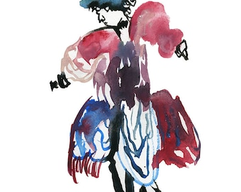 Whimsical Abstract Watercolor Painting featuring a Colorful Surreal Figure Illustration - 141