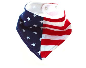 Flag Bandana Bib, 4th of July Bib, Bandanna Bib, Red White and Blue, Stars and Stripes, Boy Bib, Girl Bib, Bibdana, Drool Bib, Drool Scarf