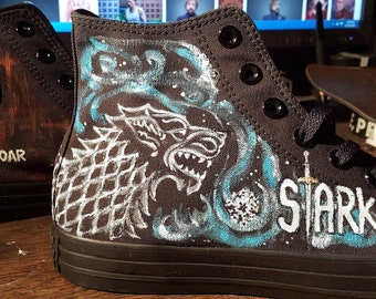 Game of Thrones Custom painted Converse sneakers  Black on Black detailed fully wrapped artwork 4 sides - this design or ???