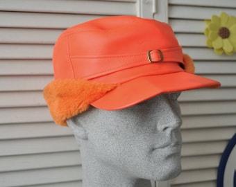 Vintage Mens Womens Winter Hat Lumberjack Cap 60s Bright Saftey Orange Cold Weather Headwear Adult Costume Heavy Duty USA Outerwear Mod