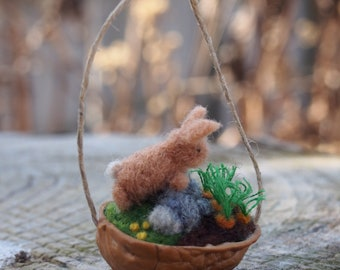 Bunny Ornament / Needle Felted Bunny and Carrots in a Walnut Shell / Spring Decoration / Felted Wool Pet Bunny / Miniature Sculpture