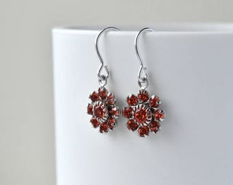 Red Crystal Earrings - Sterling Silver - Flower Earrings - Rhinestone Earrings - Crystal Jewellery
