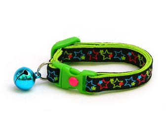 Star Cat Collar - Neon Green Pink and Blue Stars on Black - Small Cat / Kitten Size or Large Size