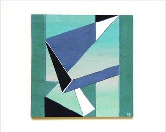 Geometric modern art painting, blue icy shards, contemporary original wall art