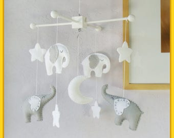 Elephant Mobile, Baby Crib Mobile, Modern Mobile, Nursery Mobile, Gray and White Elephants Starry Night Mobile