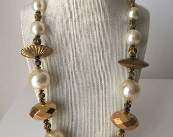 Vintage Faux Pearl and Gold Bead Necklace