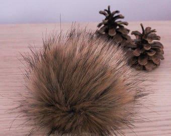 Brown Wolf Faux Fur Pompom. Faux Fur Pom Pom. Faux Fur Pompom for Hat. Sew On Faux Fur Pompom. Pompoms. Vegan Pompoms.