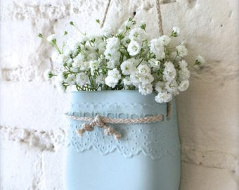 New Color-Pale Blue Porcelain Lace Hanging Wall Pocket, Wall Hanging Vase, Wall Decor, Living With Flowers Everyday