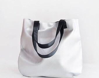 Vegan tote leather tote women handbags tote bag women tote bag work, silver tote bag minimalist bag vegan leather tote, metallic tote bag