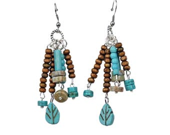 Dangle Bead Earrings Colorful Bohemian Look With Strands of Howlite Turquoise and Wood Beads with Hypo Allergenic Ear Wires