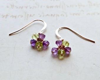 Super Tiny Amethyst Peridot Cluster Earrings, Purple Green Gemstone Cluster, Tiny Gemstone Earrings