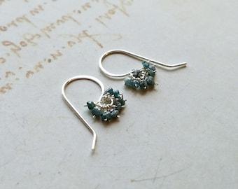 Tiny Blue Diamond Cluster Earrings, Rough Blue Diamond Drops, Minimalist Raw Diamond Cluster