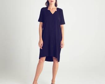 Blue short sleeve dress, oversize summer dress, buttoned down, casual sundress, day dress, office dress, knee length dress, pockets, sale