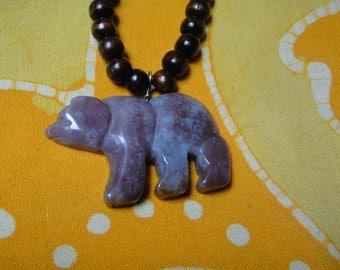 Carved Mookaite Jasper Stone Bear Fetish Prayer Bead Necklace Long Boho Tribal Mens