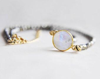 Pyrite Necklace, Pyrite Choker, Moonstone Necklace, Moonstone Choker, Short Necklace, Boho Necklace, Gemstone Necklace, Stone Necklace,