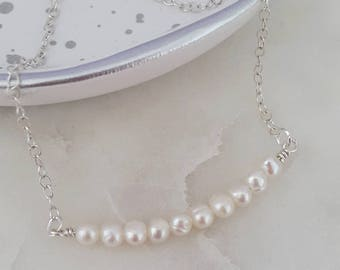 Delicate Silver Pearl Cluster Bar Necklace, Pearl Necklace, Wedding Jewellery, Bride, Bridesmaid, Mother of the Bride, Gifts for Her