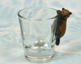 Hand Sculpted Bush dog 1.5 oz Shotglass