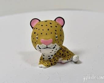 Hand Sculpted Leopard Spotted Big Cat Derp Figurine