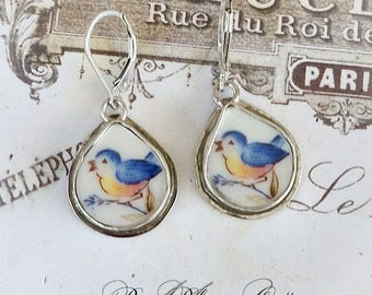 Blue birds Fat Teardrop Sterling Broken China Jewelry Earrings