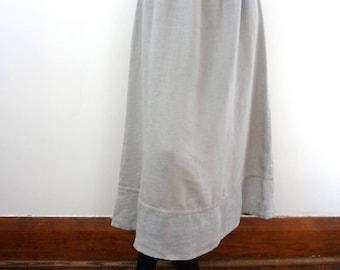 Vintage FLAX A-line Linen Skirt - dove grey casual midi skirt