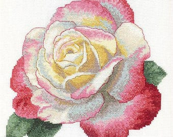 NEW UNOPENED Counted Cross Stitch Kit Charivna Mit BT-073 Rosa Peace Flower