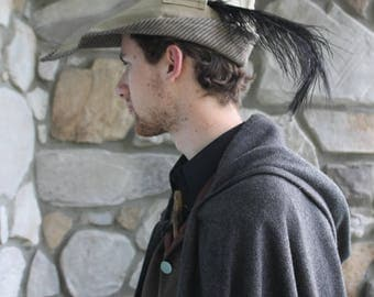 Tan Medieval Peasant Hat with Feather, Cotton Canvas Lined with Wool: The Ashiepattle