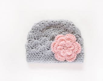 Girls Hat / Newborn Girl Hat / Crochet Baby Hat / Girls Winter Hat / Girls Beanie / Baby Girl Hat / Baby Shower Gift Girl / Hats For Girls