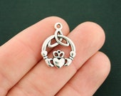 8 Irish Claddagh Charms Antique Silver Tone Celtic Knot - SC7537
