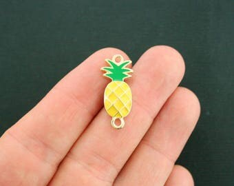 6 Pineapple Connector Charms Gold Plated and Yellow and Green Enamel Fun and Colorful - E360