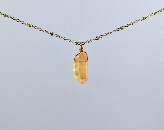 Tangerine Aura Double Quartz Crystal Point Necklace, Quartz Crystal Necklace, Druzy, Druzy Quartz, Druzy Crystal, Gift under 30