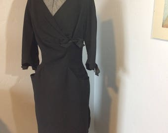 1950's Black Wrap Top Dress With Satin Bow Accents Vintage