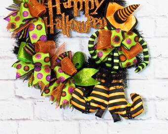 Halloween Wreath, Halloween Witch Wreath, Halloween Decoration, Halloween Decor, Witch Decor