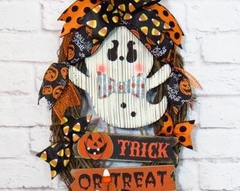 Halloween Wreath, Halloween Decor, Trick or Treat Wreath, Ghost Wreath, Oval Halloween Wreath, Grapevine Halloween Wreath