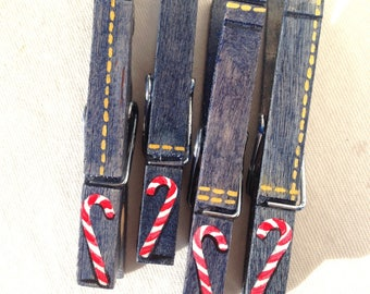candy canes clothespins christmas clothespin denim jeans painted magnetic clothespin set
