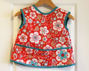LAST ONE Sleevless Kids Art Smock Childrens Craft Apron with Red and Teal Paisley Print