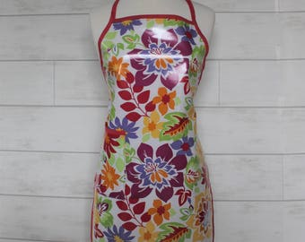 Womens Waterproof Apron Florists Apron Gardners Apron in Bright Tropical Florals